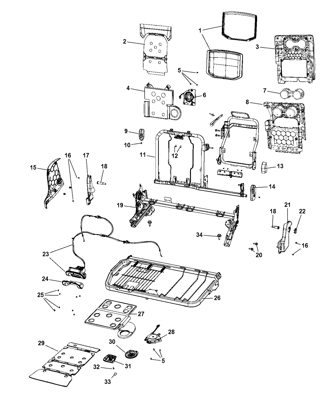 2020 Ram 1500 Second Row - Rear Seat Hardware, Split Seat