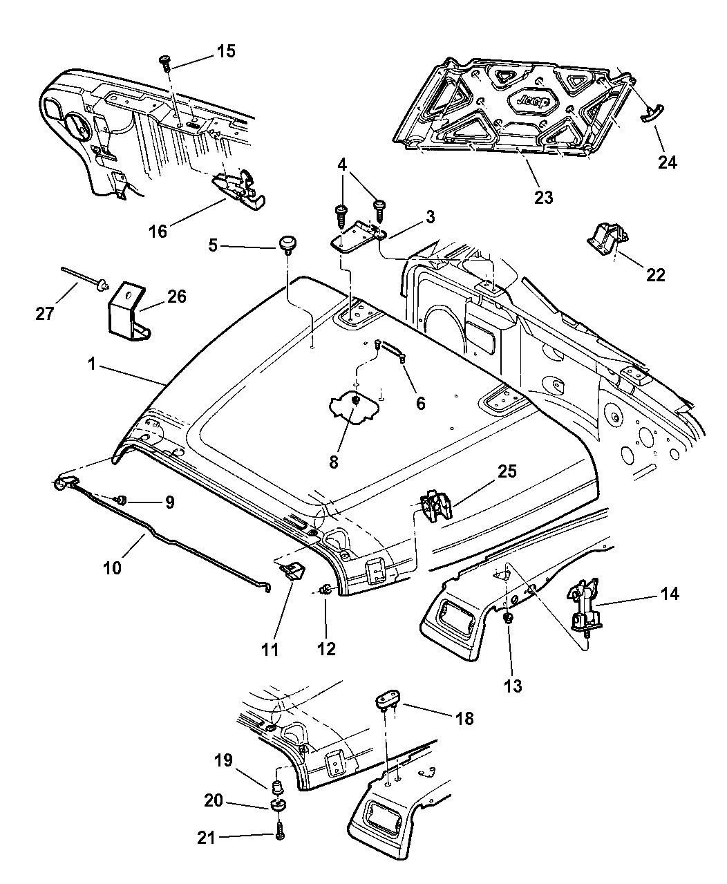 1997 jeep wrangler hood  lock  catches