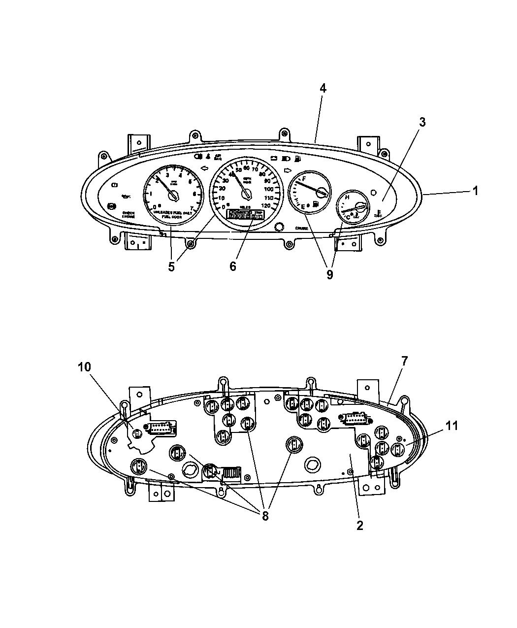 1998 Chrysler Sebring Convertible Cluster, Instrument Panel