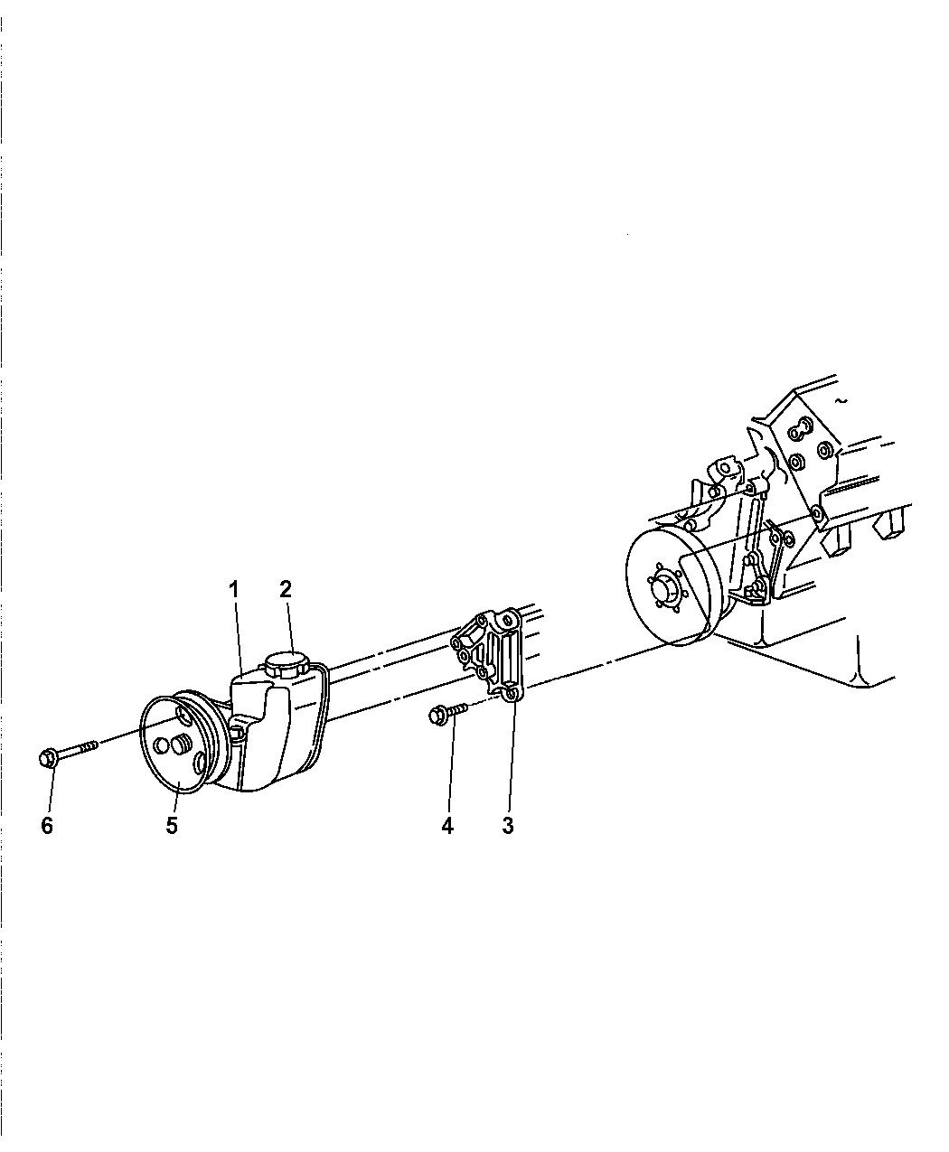 1998 Jeep Grand Cherokee Power Steering Pump & Mounting