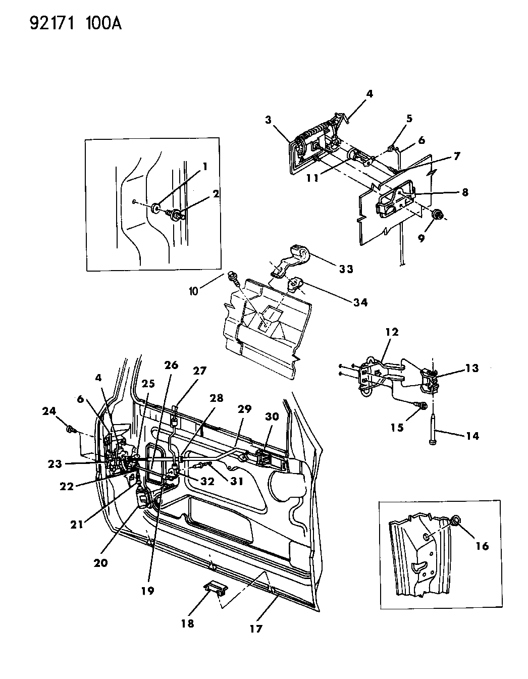 1992 Dodge Shadow Door, Front Shell, Handles And Locks
