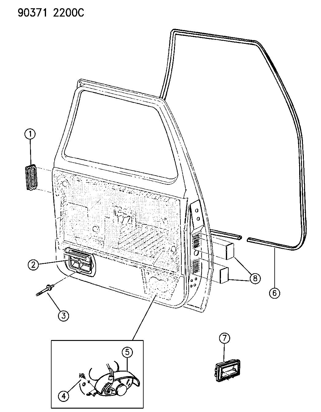 1993 Dodge D150 Door, Front Weatherstrip Exhauster Bezels