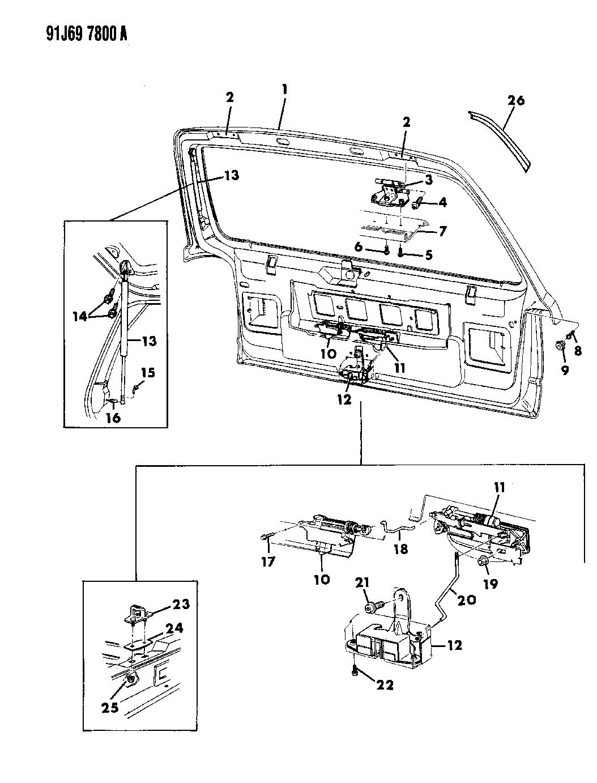 1993 Jeep Grand Wagoneer Lift Door Latch & Hinges