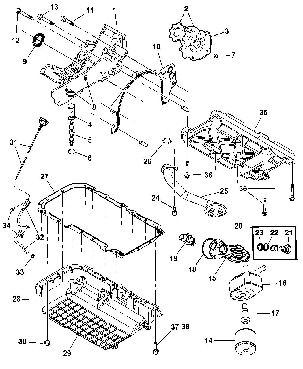 2005 Chrysler Pacifica Engine Oiling Mopar Parts Giant 3 8 Diagram Thumbnail 2