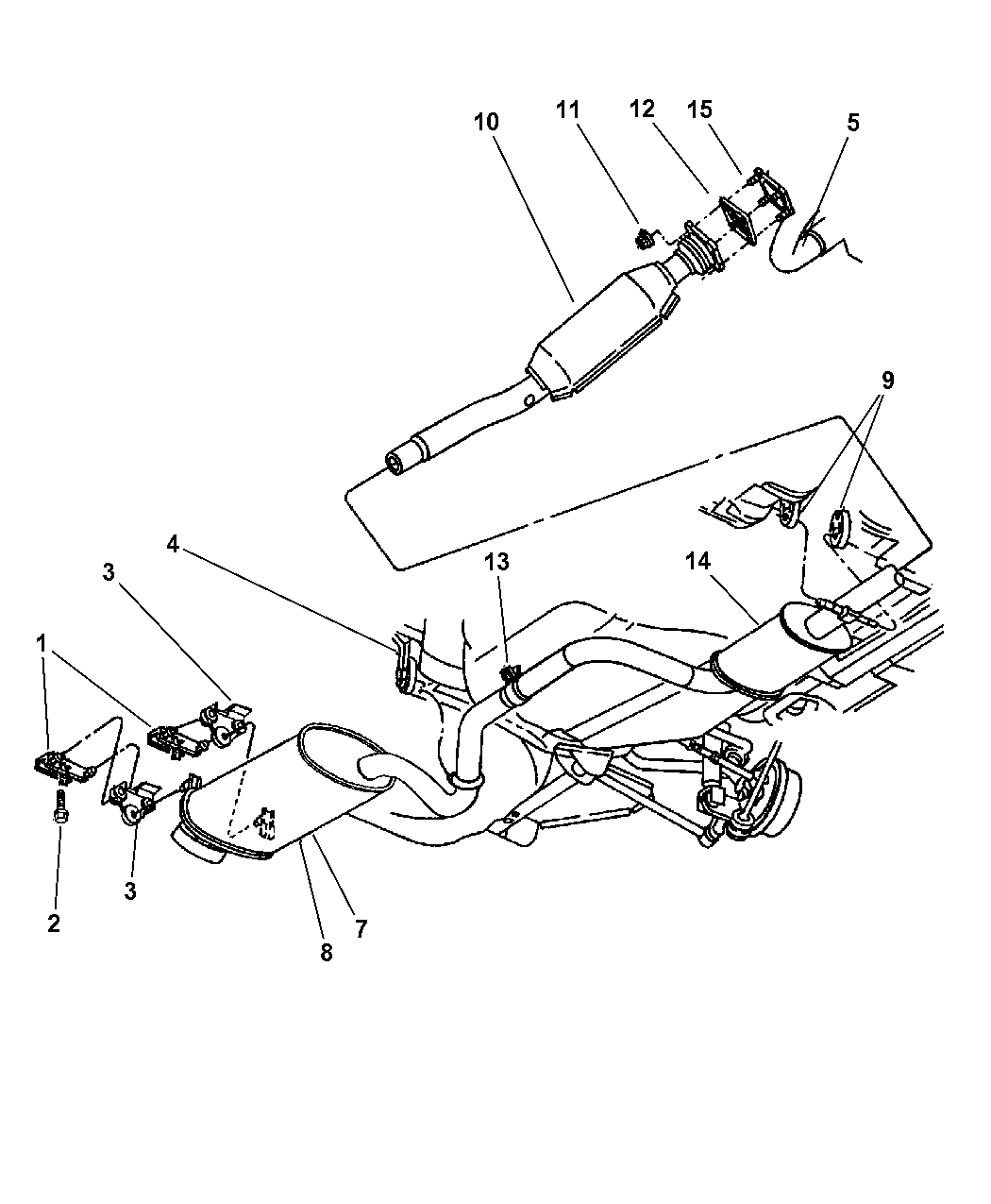 1998 Chrysler Sebring Convertible Exhaust System