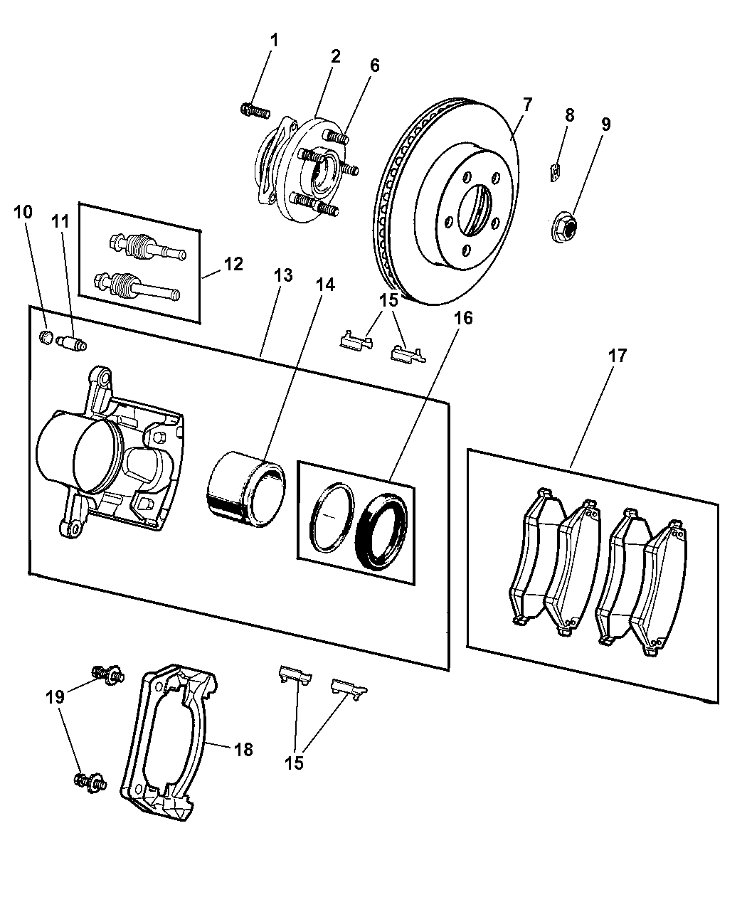 v1013984ae genuine jeep pad kit front disc brake. Black Bedroom Furniture Sets. Home Design Ideas
