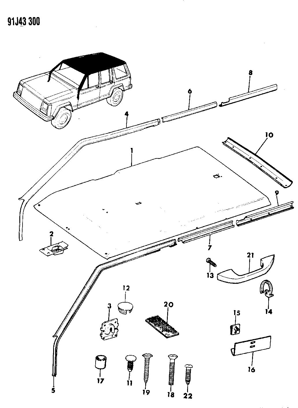 1992 Jeep Cherokee Headliner & Upper Trim Mouldings