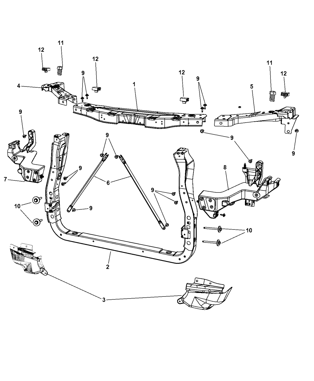 2012 jeep grand cherokee radiator support