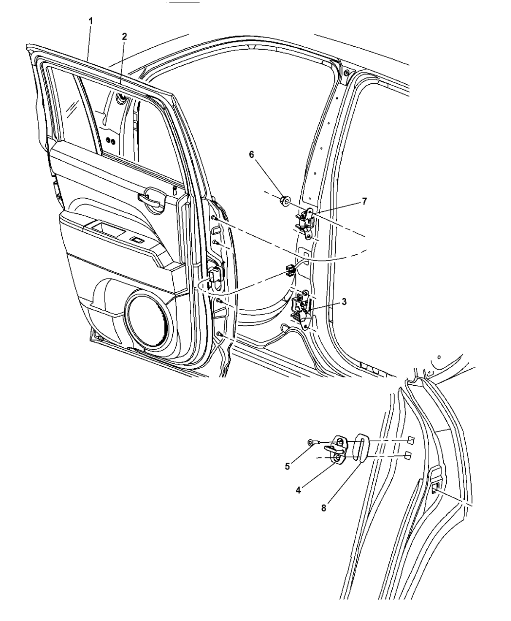 2016 Jeep Patriot Rear Door Shell Hinges