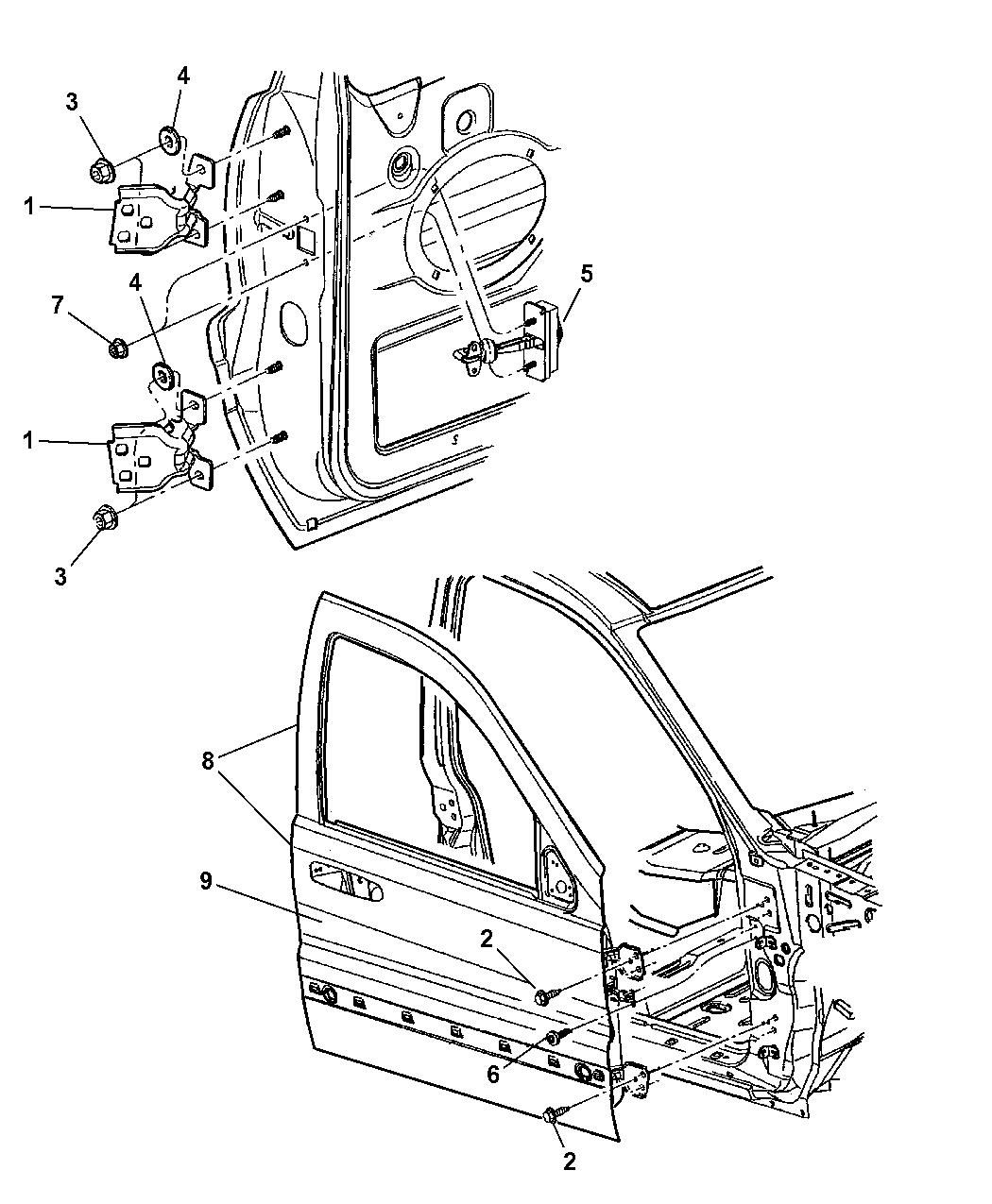 2007 jeep liberty door diagram 55177026aa - genuine jeep hinge-door #10