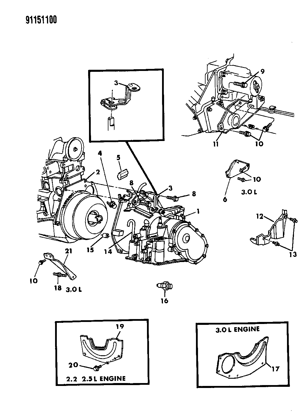 1991 Chrysler New Yorker Fifth Avenue Transaxle Assemblies Mounting 2 5l Engine Diagram