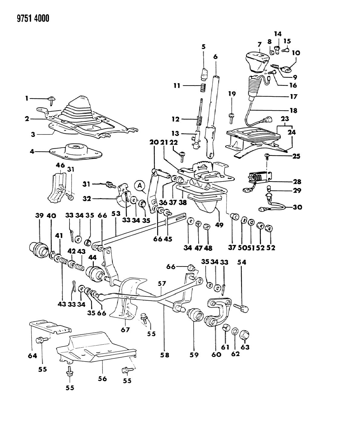1989 dodge raider controls gearshift mopar parts giant rh moparpartsgiant com 1990 Dodge Dakota Wiring Diagram Dodge Pickup Wiring Diagram