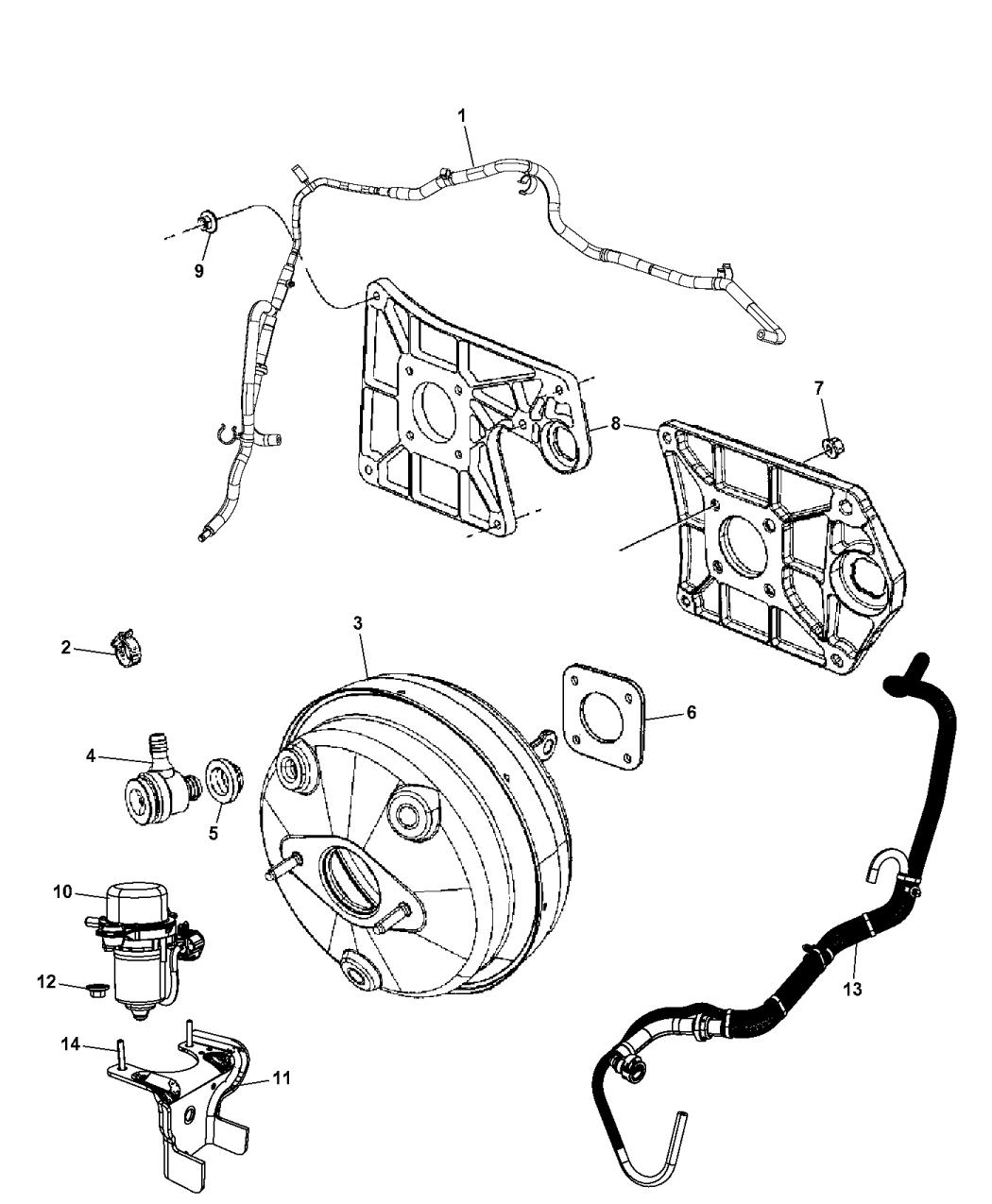 Genuine Chrysler 5154208AD Brake Booster Vacuum Hose