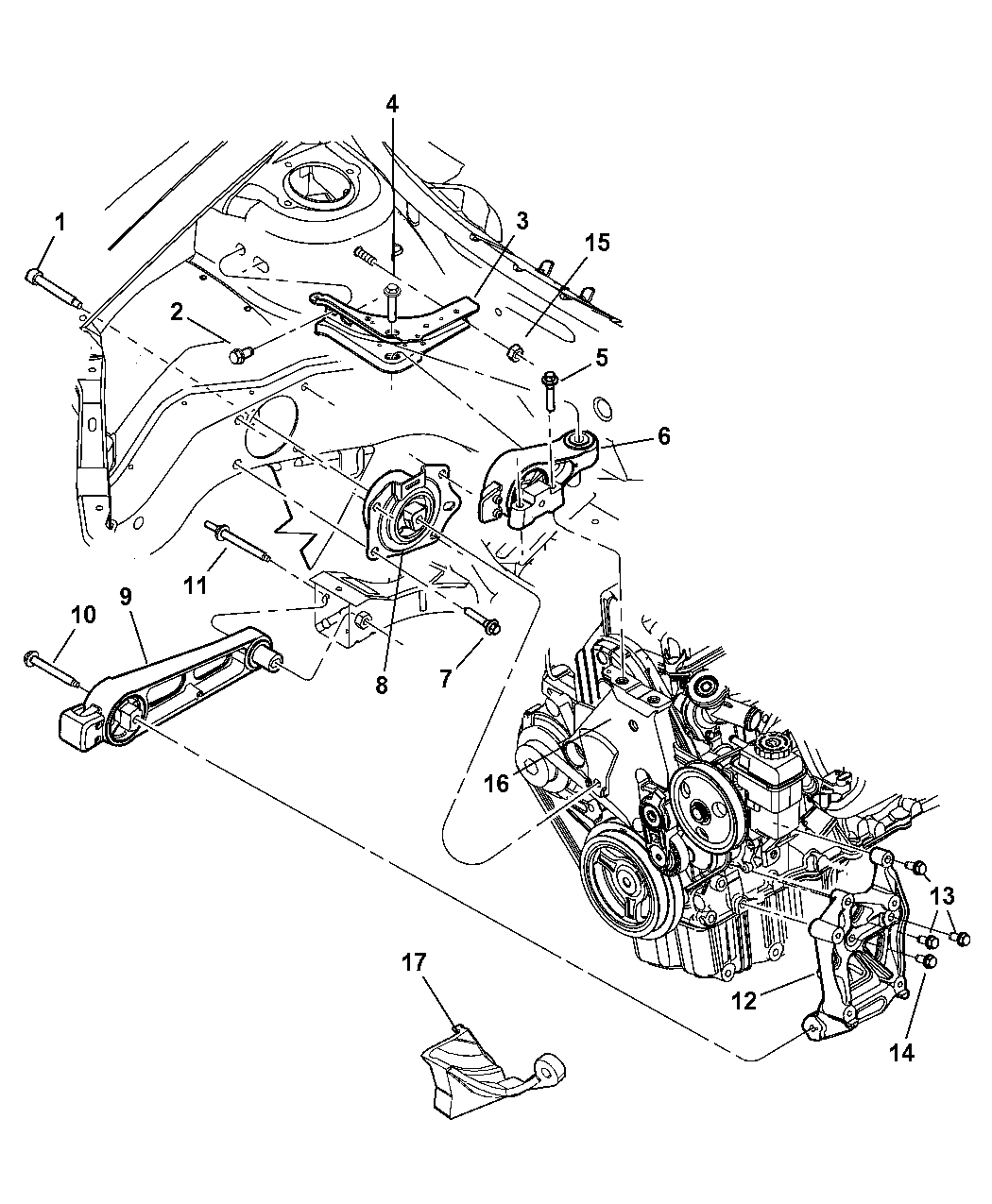 2004 Dodge Neon Engine Mount Diagram