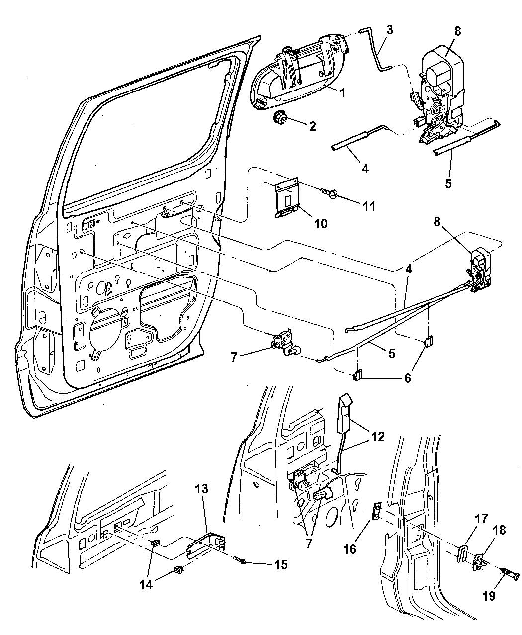 55256714ab genuine mopar latch rear door 2000 Dodge Durango Front Bumper Diagram