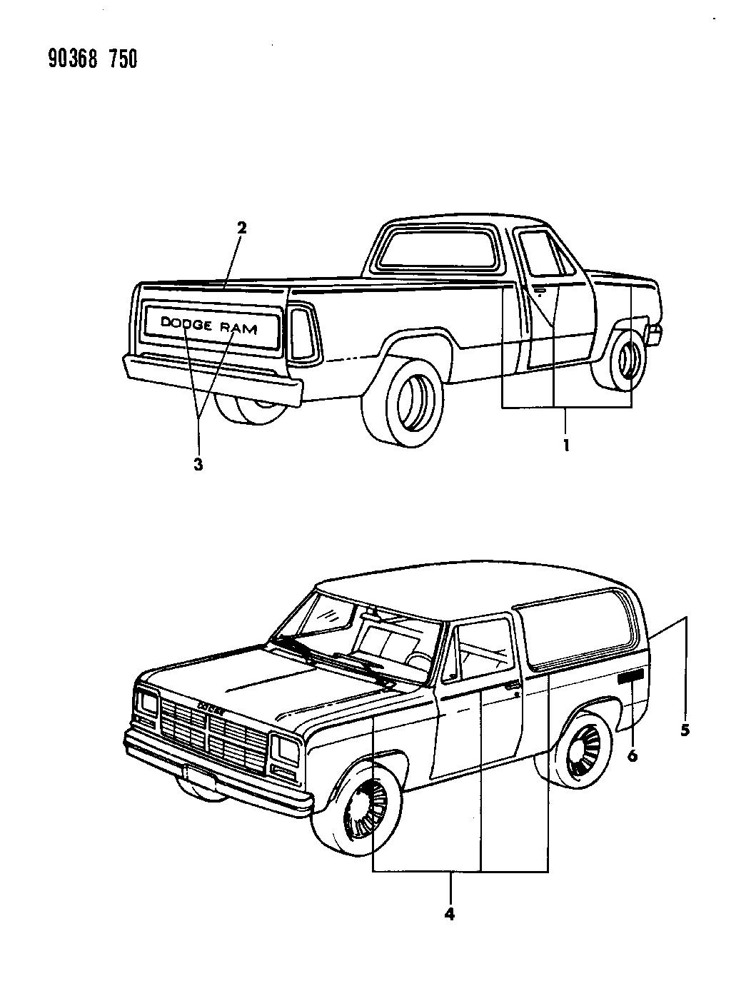 1992 Dodge Ramcharger Tape Stripes & Decals - Mopar Parts Giant