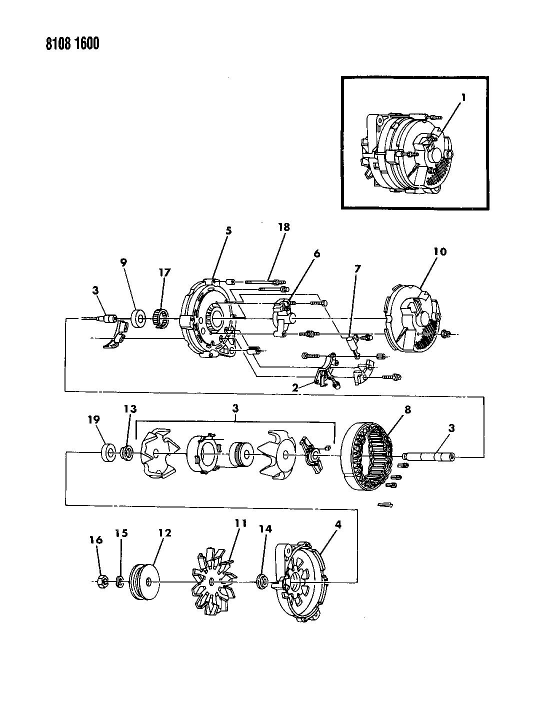 1988 Dodge Grand Caravan Alternator - Mopar Parts Giant on