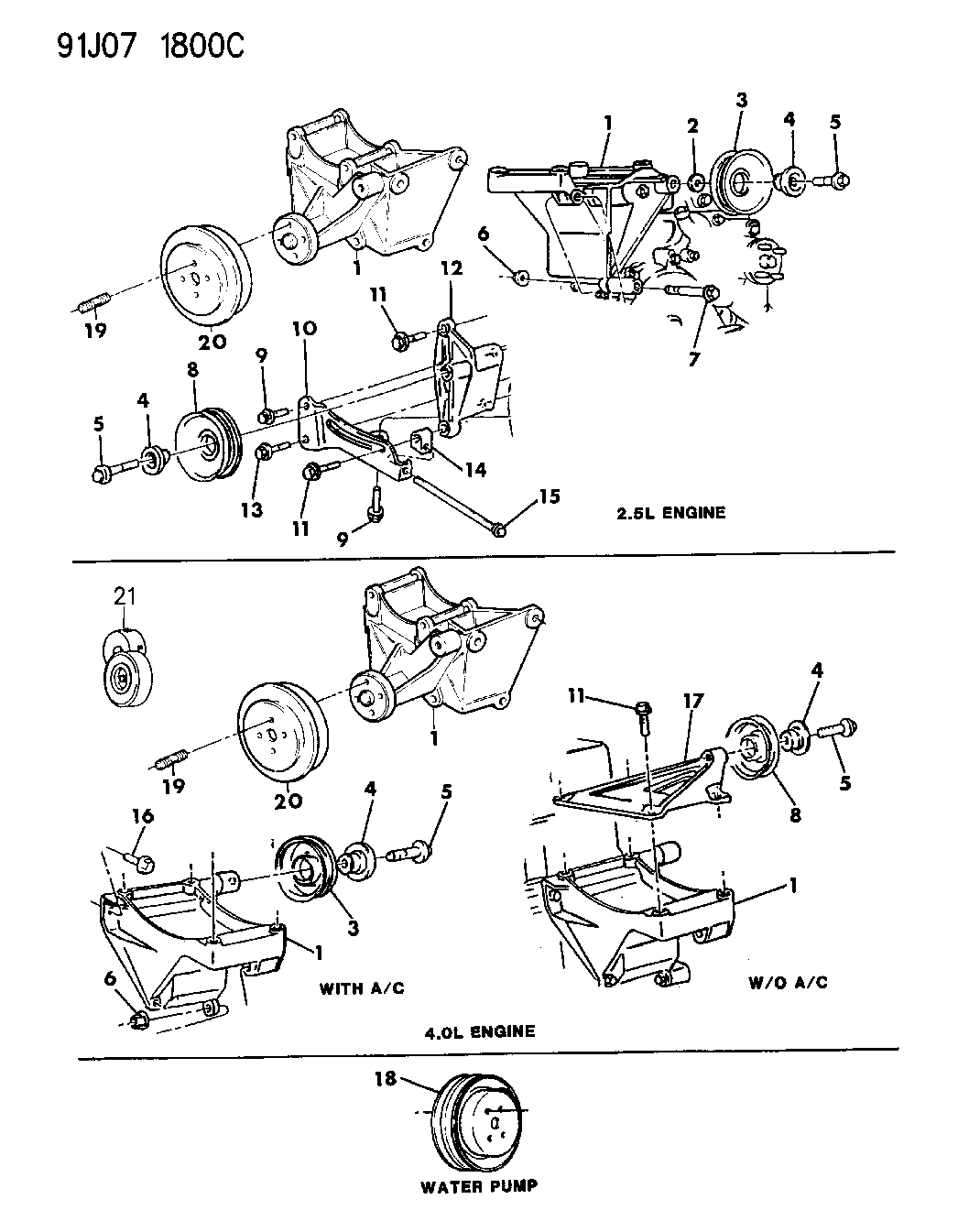 1992 Jeep Wrangler Drive Pulleys And Mounting