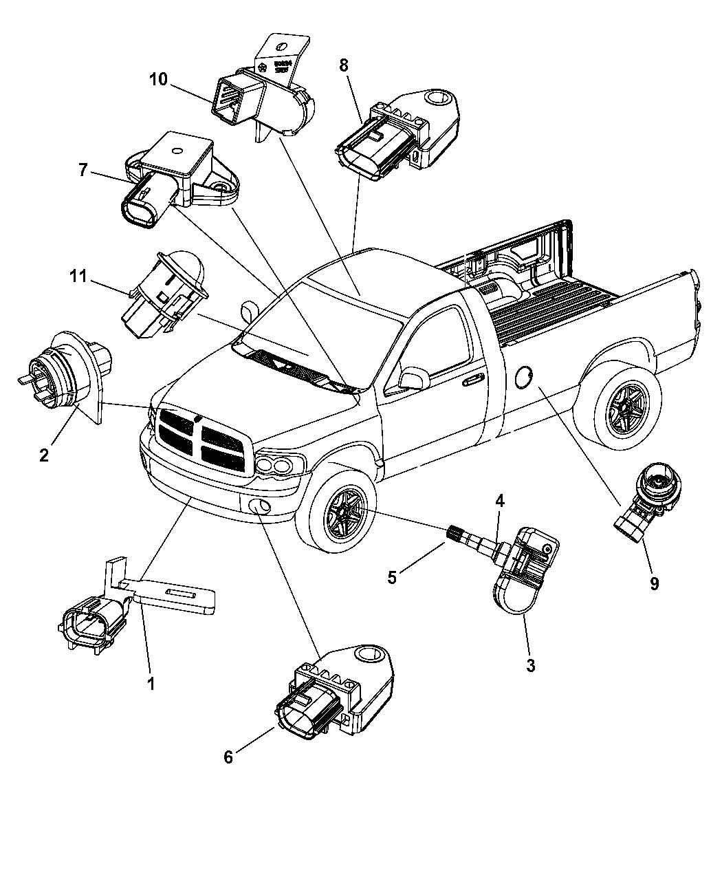 2011 Ram 1500 Sensors Body Mopar Parts Giant Lights Wiring Diagram