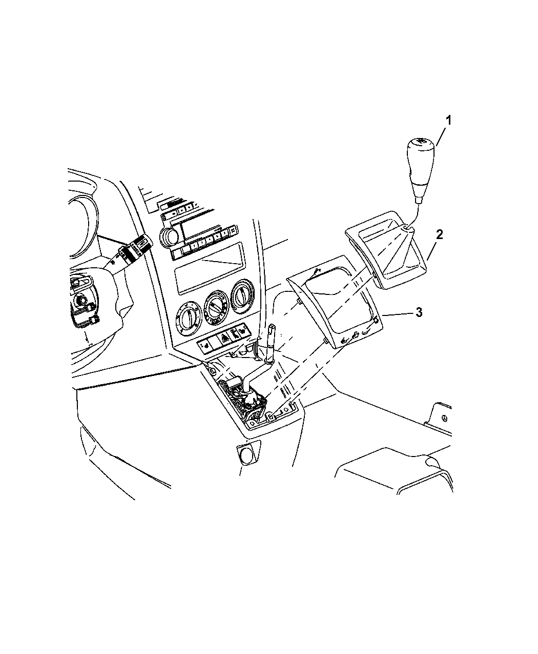 2007 dodge caliber shift knob  u0026 bezel