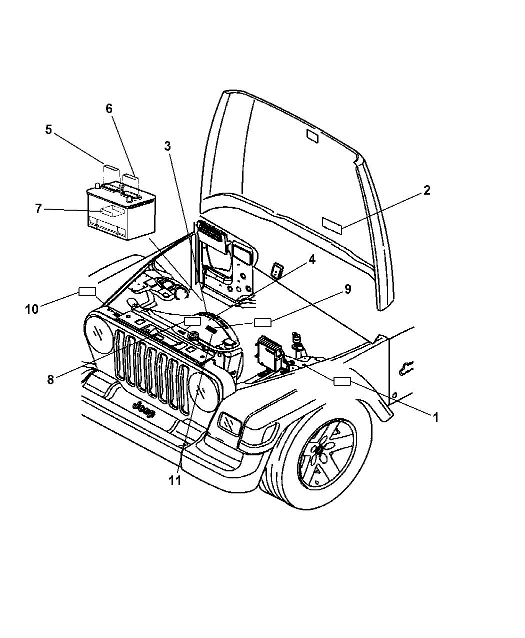 2004 jeep wrangler engine compartment mopar parts giant 04 Dodge Stratus Engine Diagram