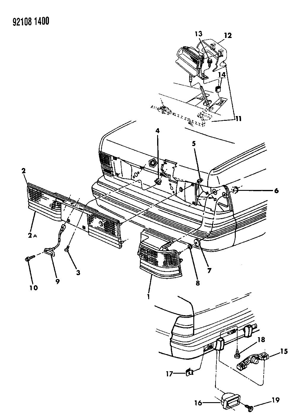 1992 Chrysler Lebaron Sedan Lamps  U0026 Wiring
