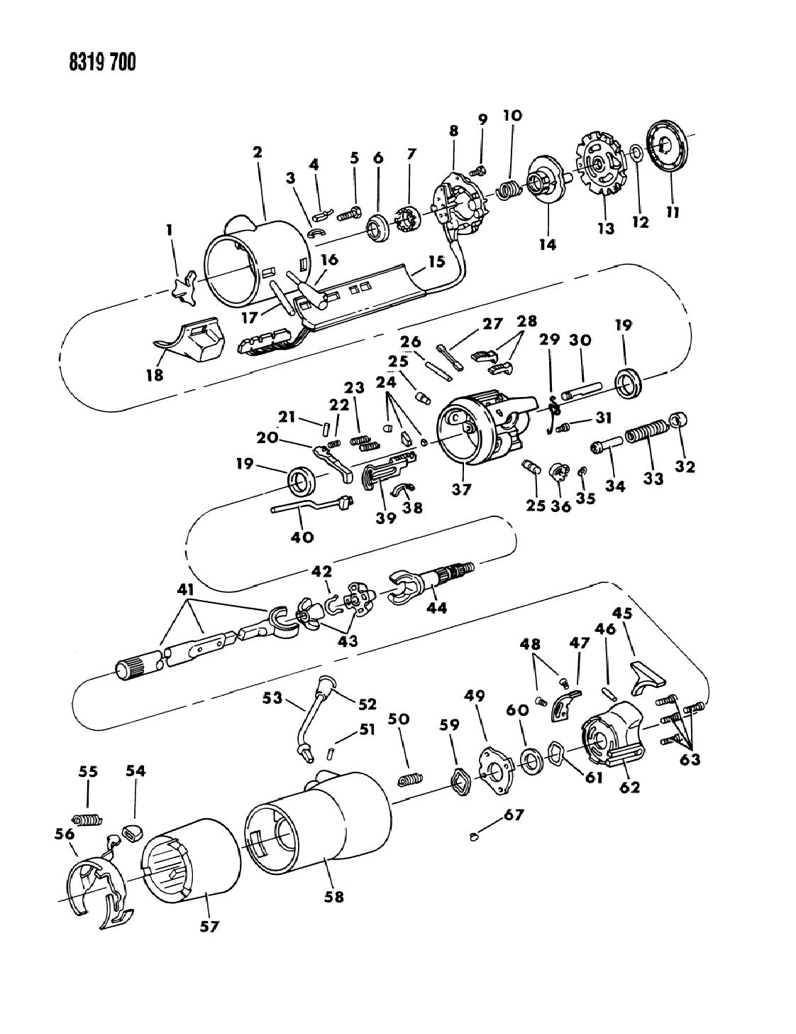 1988 dodge dakota column, steering upper with tilt1989 Dodge Dakota Steering Column Diagram #5