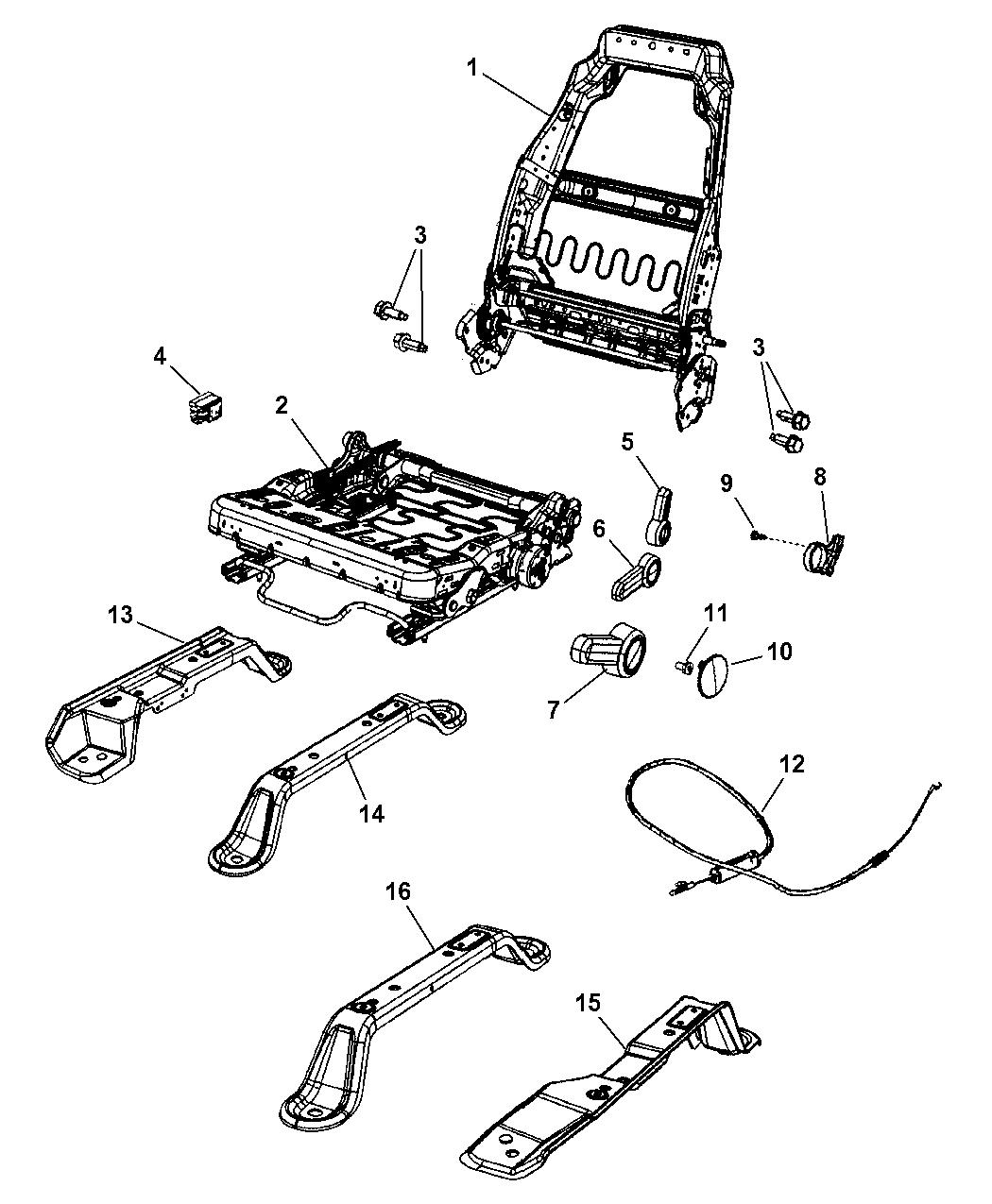 2007 Jeep Wrangler Seat Assemblies  Adjusters  Recliners