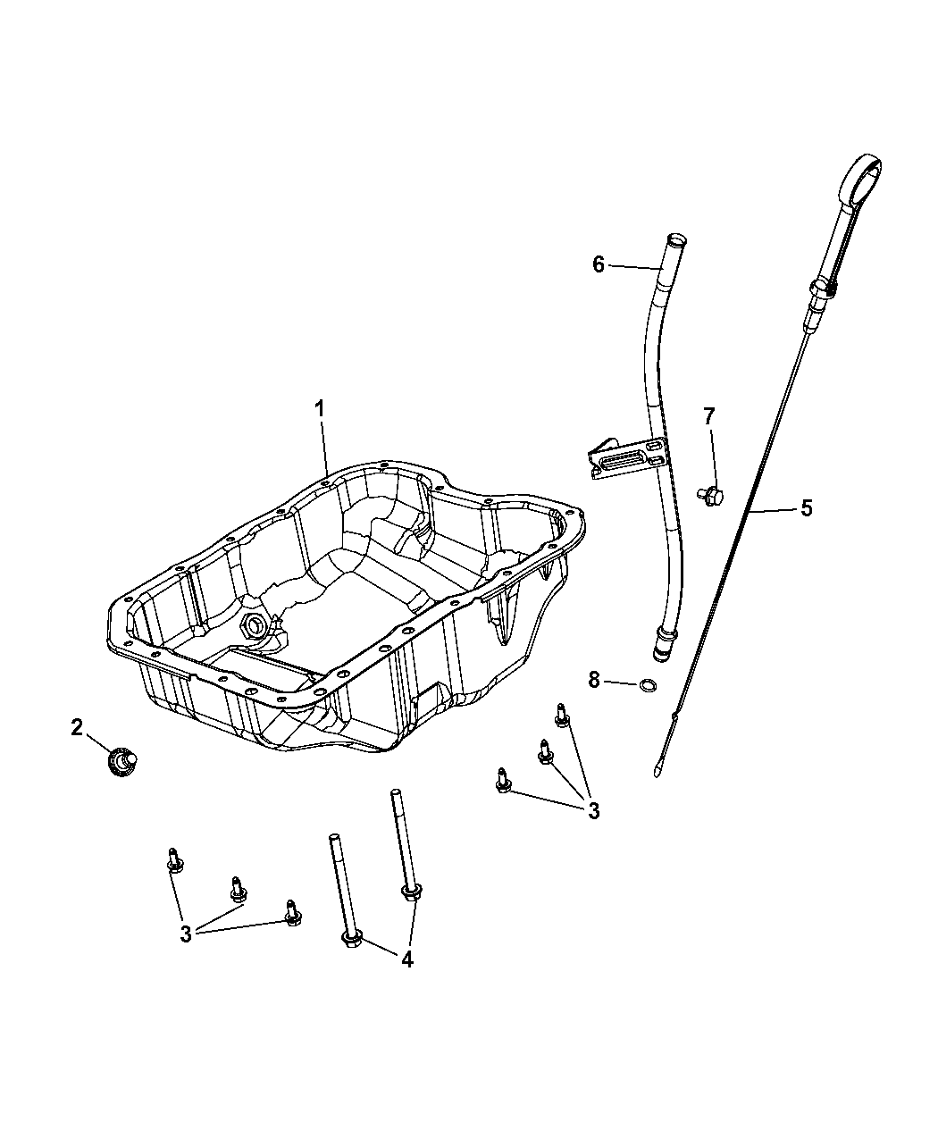 2012 Jeep Patriot Engine Oil Pan Level Indicator Diagram Of Related Parts Thumbnail