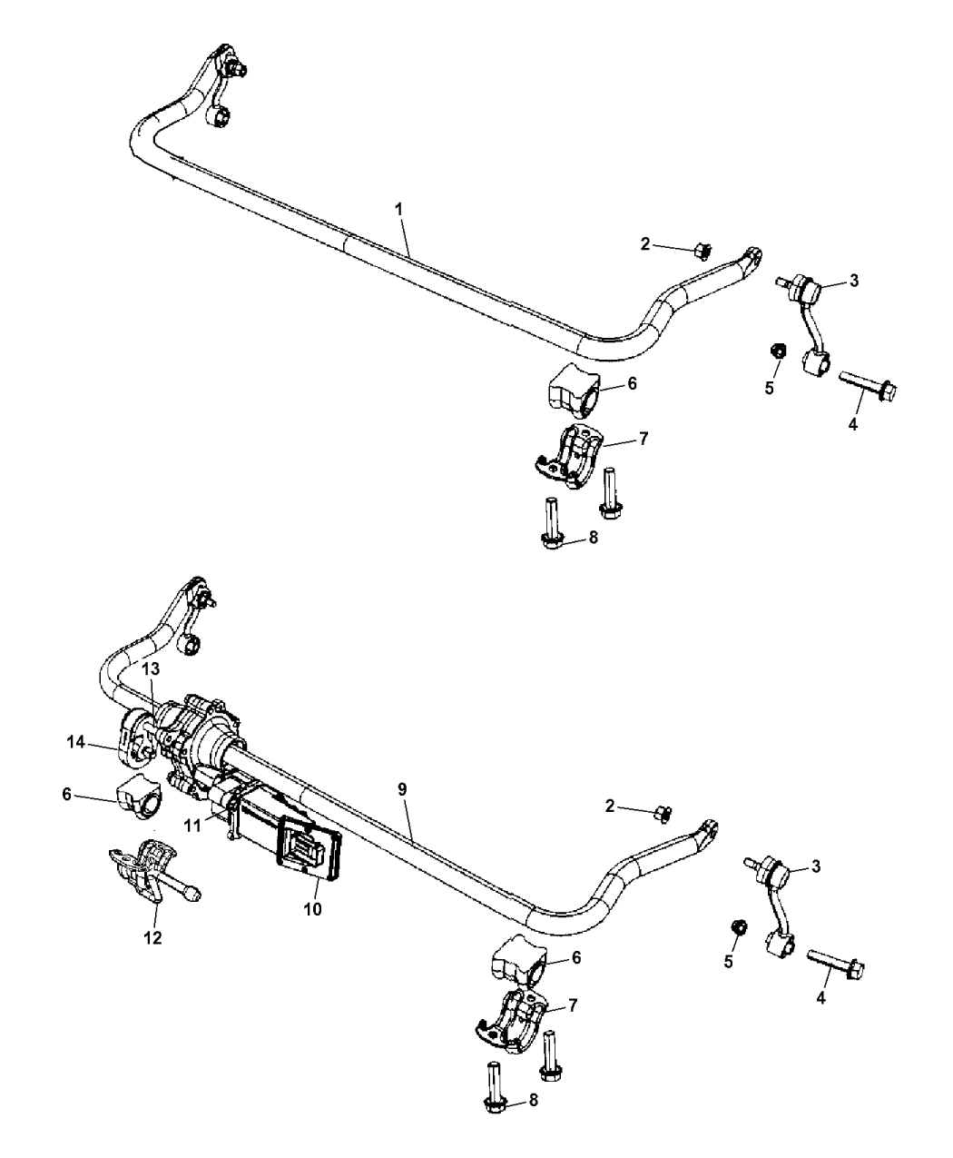 sway bar diagram saab 68044411ac - genuine mopar actuator-stabilizer bar
