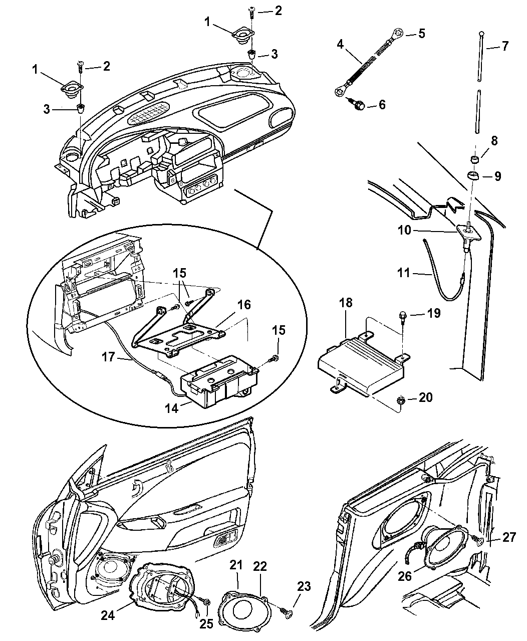 2000 Chrysler Sebring Convertible Speakers Antenna Amplifier And Engine Diagram Cd Changer