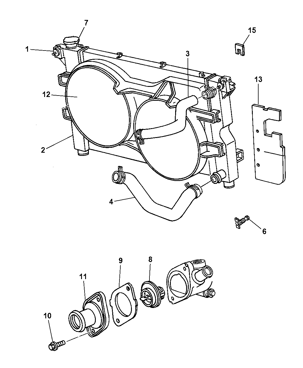 2002 Dodge Grand Caravan Radiator Related Parts Engine Cooling System Hoses Diagram Thumbnail 1