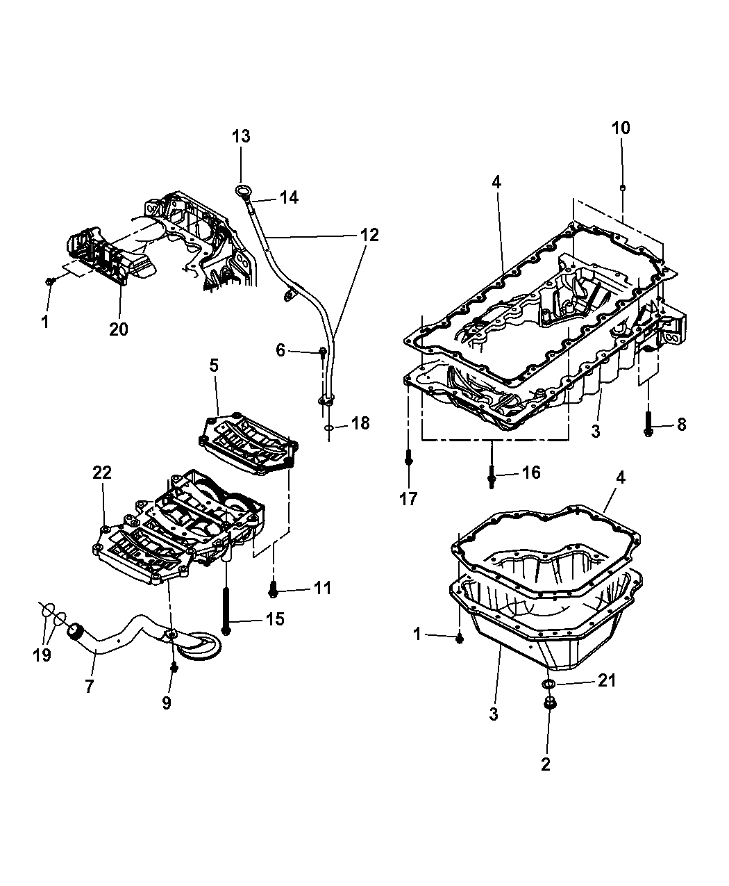 2009 Jeep Wrangler Engine Oil Pan & Engine Oil Level Indicator & Related  Parts - Thumbnail