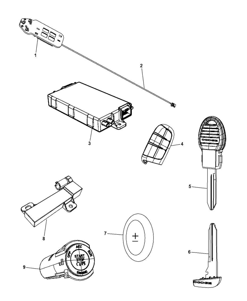 2014 Dodge Journey Receiver Modules, Keys & Key Fobs