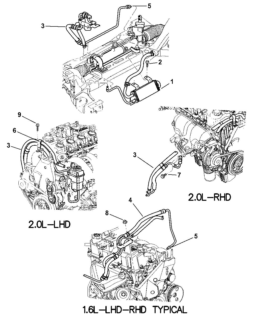 2001 Dodge Neon Power Steering Hoses Mopar Parts Giant