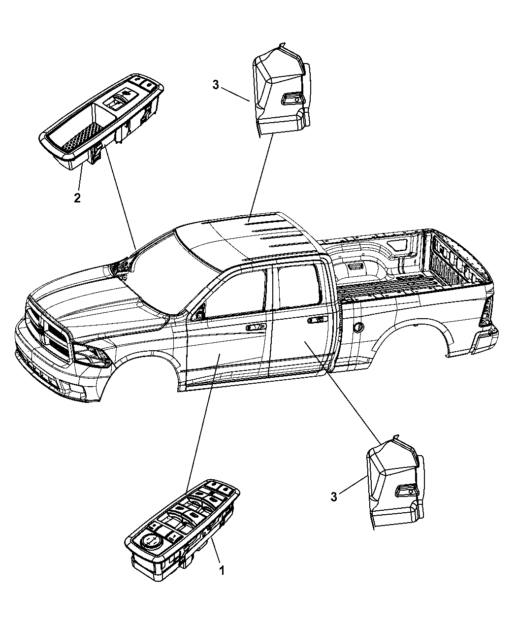 2010 Dodge Ram 1500 Switches Door