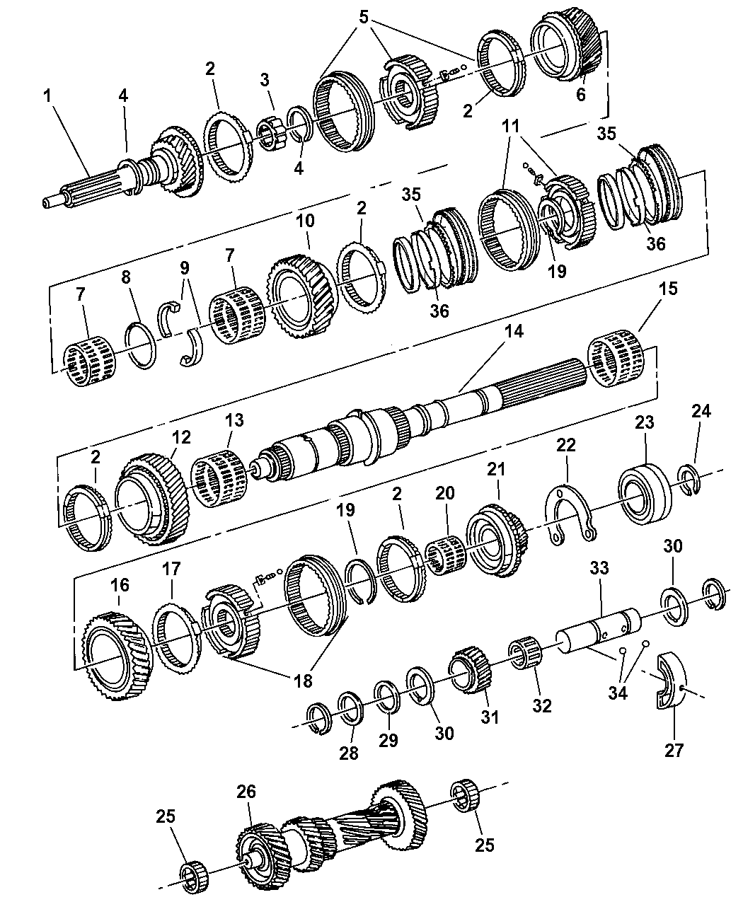 2001 jeep cherokee gear train of manual transmission