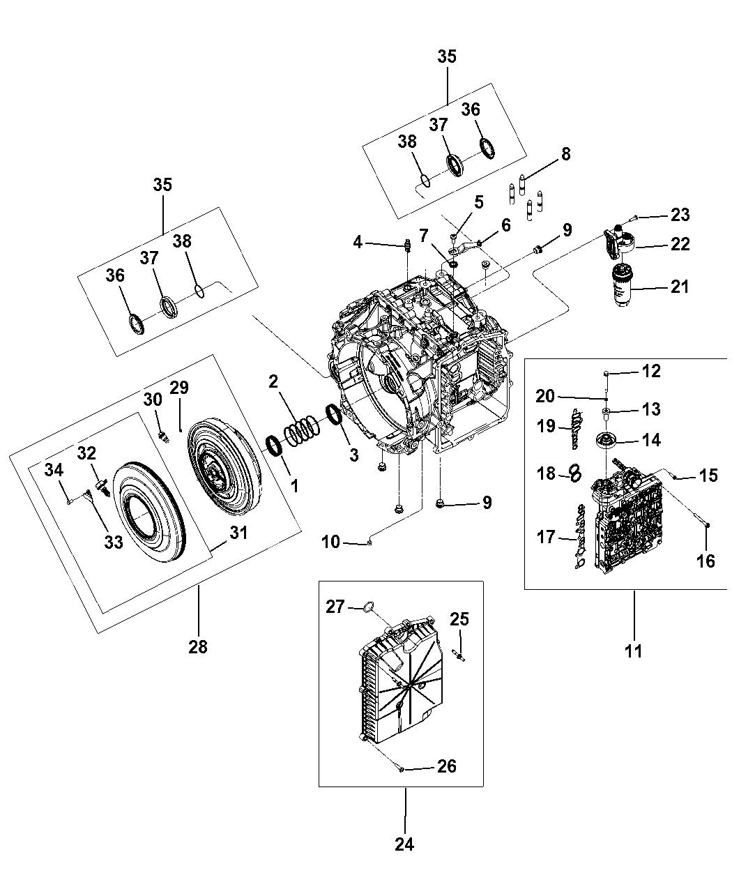 2008 chrysler sebring transmission serviceable parts