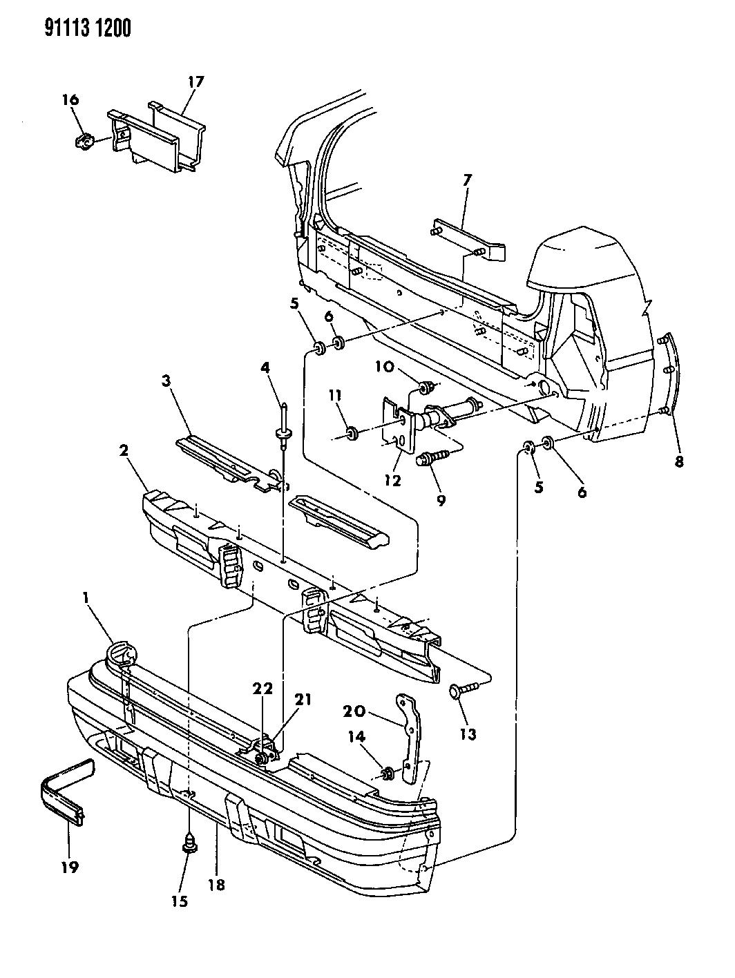 1991 Chrysler Lebaron Gtc Fascia Bumper Rear Mopar Parts Giant Wiring Diagram