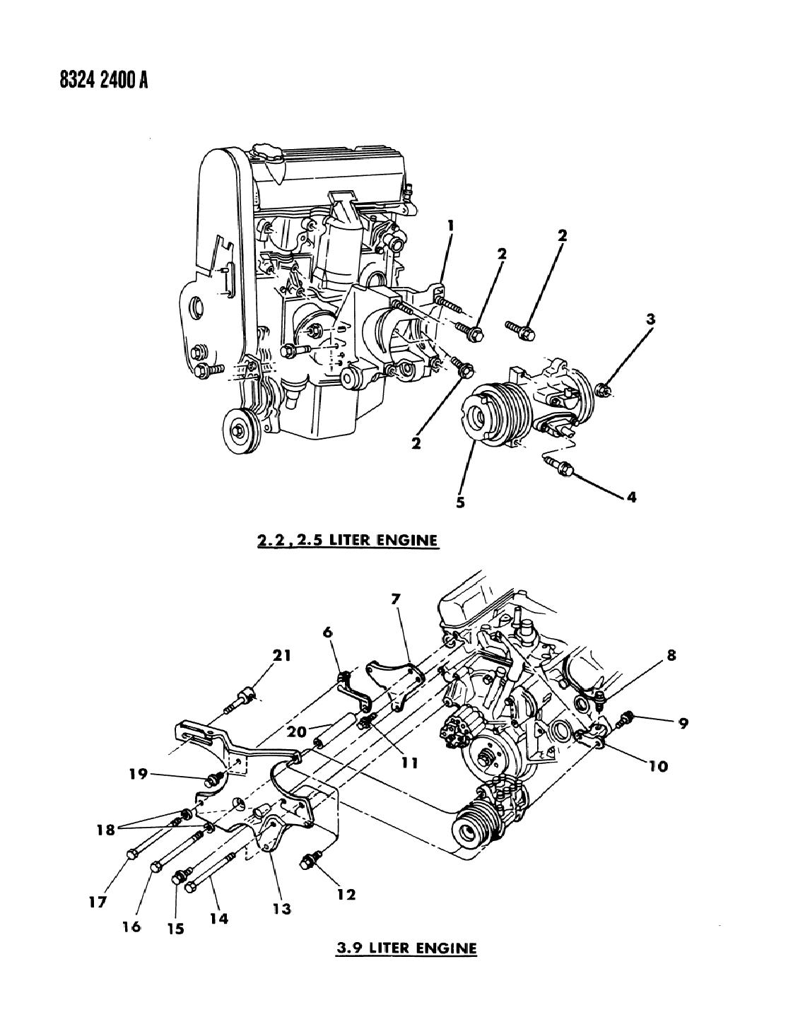 1988 Dodge Dakota Mounting - A/C Compressor - Mopar Parts Giant on 6.2 liter dodge engine, 3.9 v6 engine, 2.5 liter dodge engine,