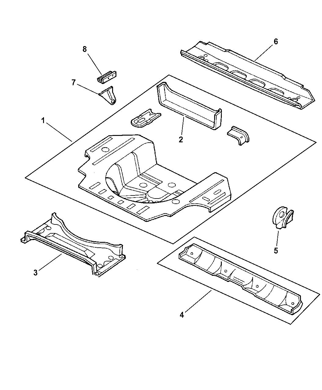 2004 chrysler 300m rear floor pan