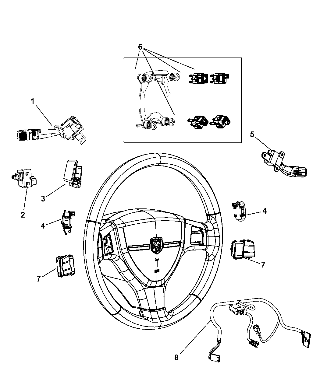 dodge truck column wiring 68056174aa genuine dodge wiring steering wheel  genuine dodge wiring steering wheel