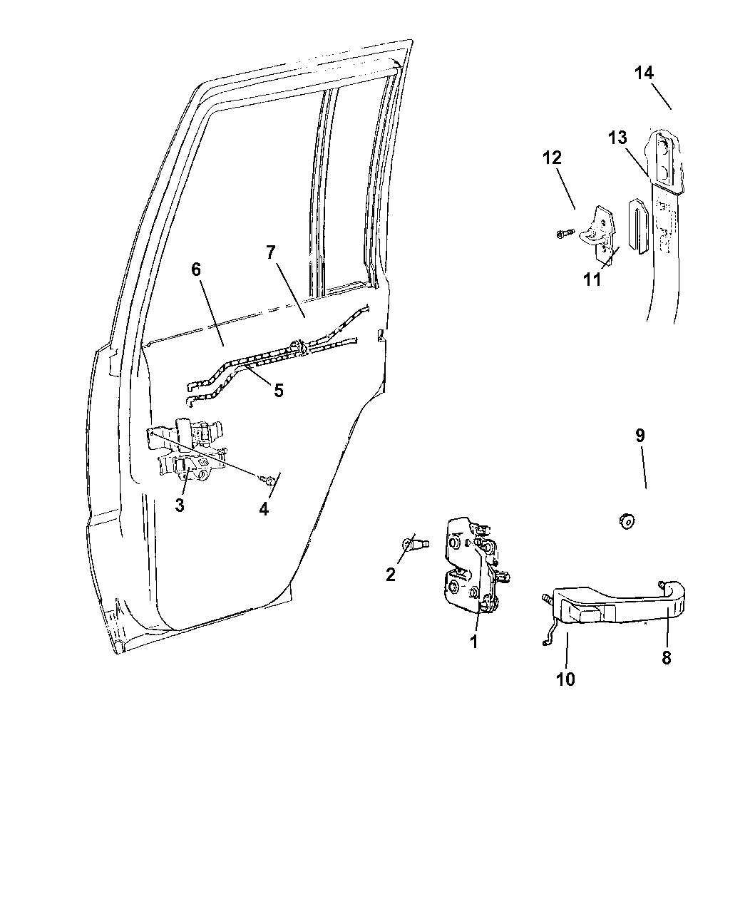 1998 Jeep Grand Cherokee Door, Rear Lock & Controls