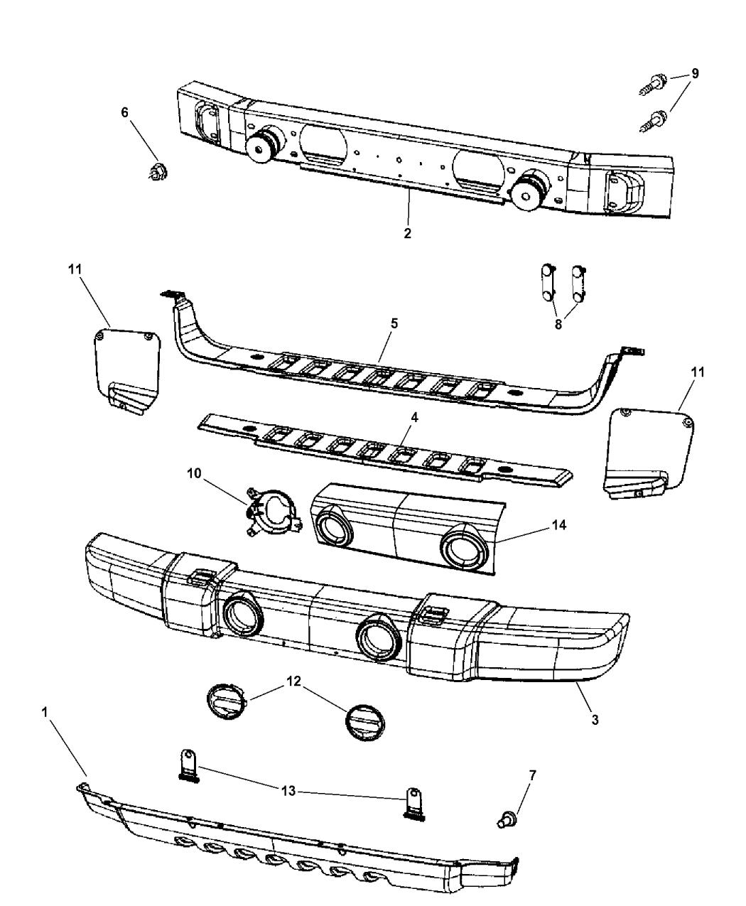 2008 jeep wrangler front bumper parts diagram  u2022 wiring