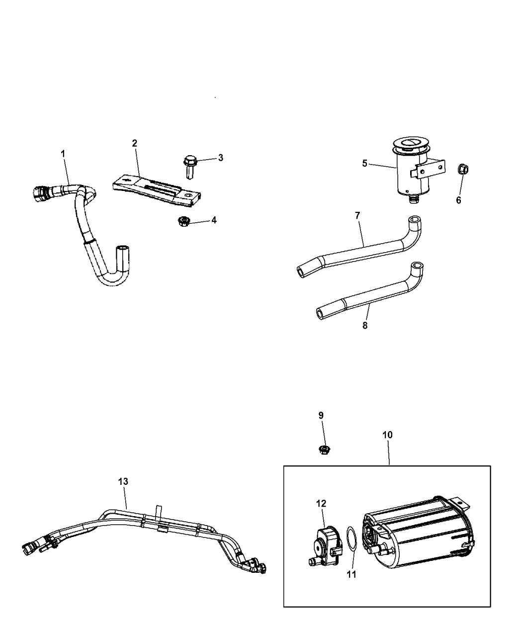 5147148ab genuine mopar hose canister to vapor line. Black Bedroom Furniture Sets. Home Design Ideas
