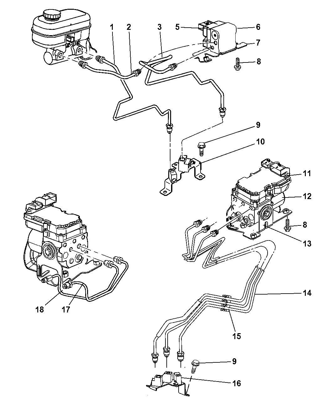 2003 dodge dakota lines - brake