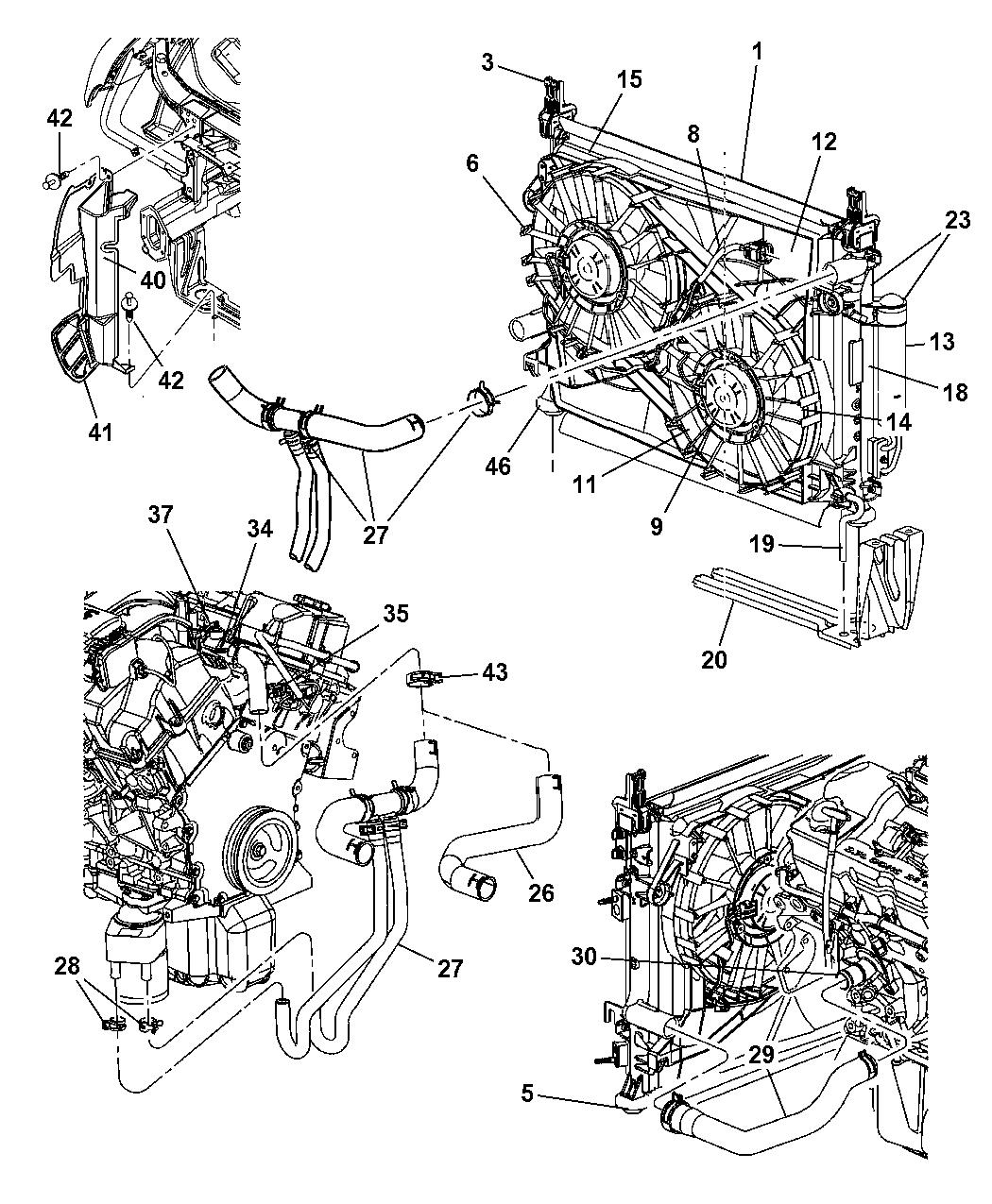 5137692aa genuine mopar radiator engine cooling 2005 Chrysler 300 Touring 2007 chrysler 300 radiator \u0026 related parts