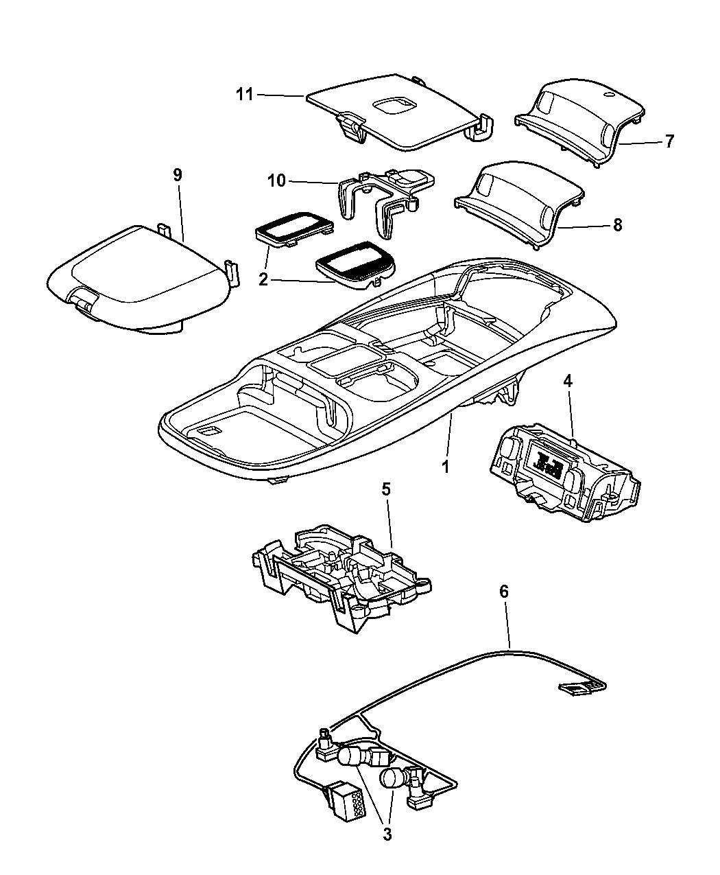 2002 Dodge Ram 2500 Quad & Club Cab Overhead Console