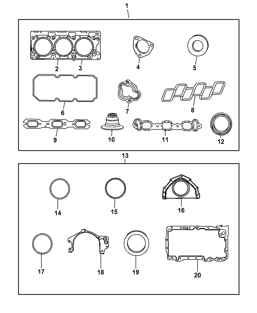 2009 Chrysler Sebring Engine Gasket Kits Mopar Parts Giant Diagram Thumbnail 1