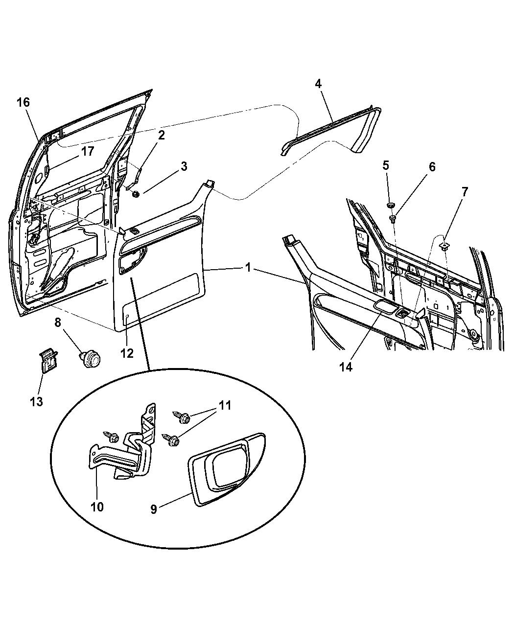 2005 dodge caravan door panel - rear sliding